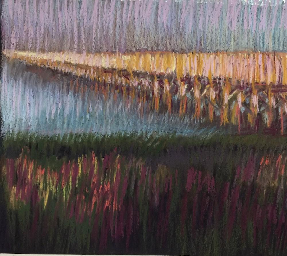 """Powder Point Bridge at Dawn"" original fine art by Janet Zabilski"