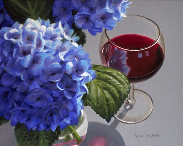 """Hydrangeas and Red Wine"" original fine art by Nance Danforth"
