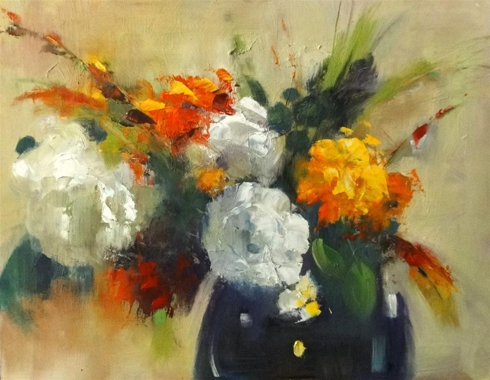 """Floral Fantasy in Orange and White, 16x12"" original fine art by Ann Feldman"