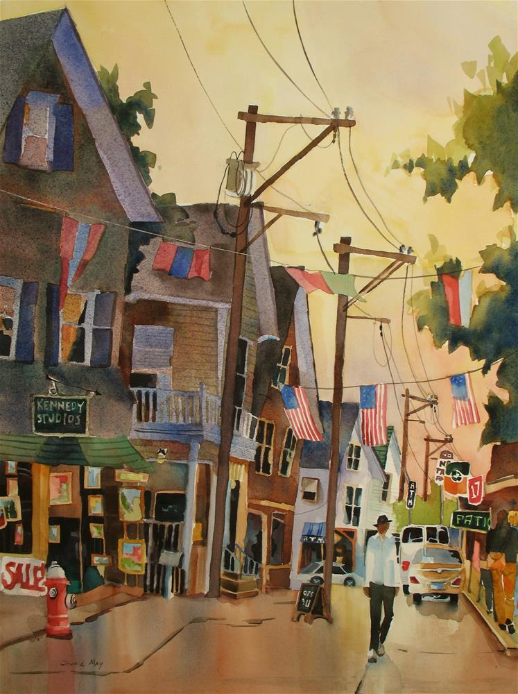 """A stroll in Provincetown , MA"" original fine art by Jinnie May"