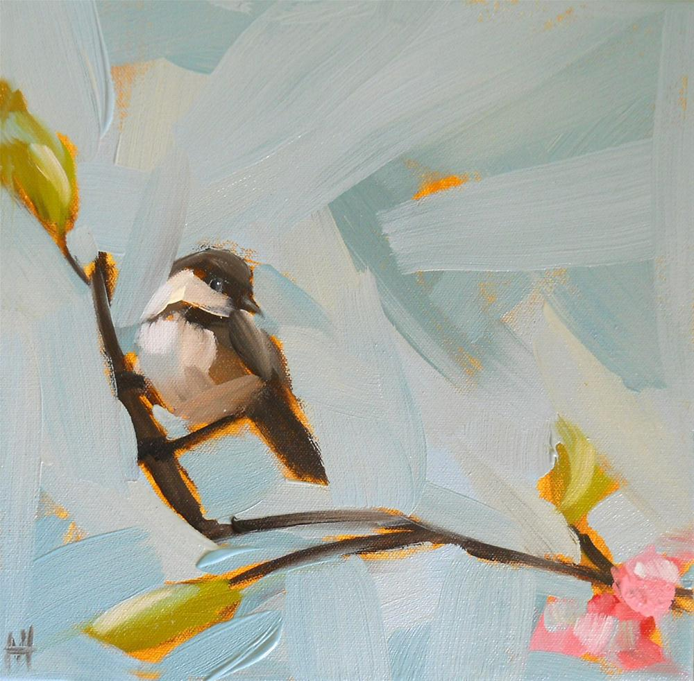 """chickadee with blossoms no. 2"" original fine art by Angela Moulton"