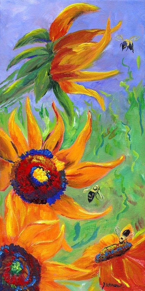"""BUMBLING -  An original painting of Sunflowers and Bumble Bee's"" original fine art by Sue Furrow"