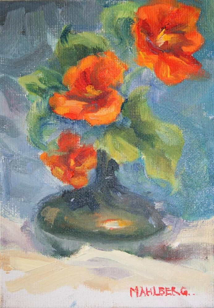 """Vina Nasturtiums"" original fine art by Cynthia Mahlberg"