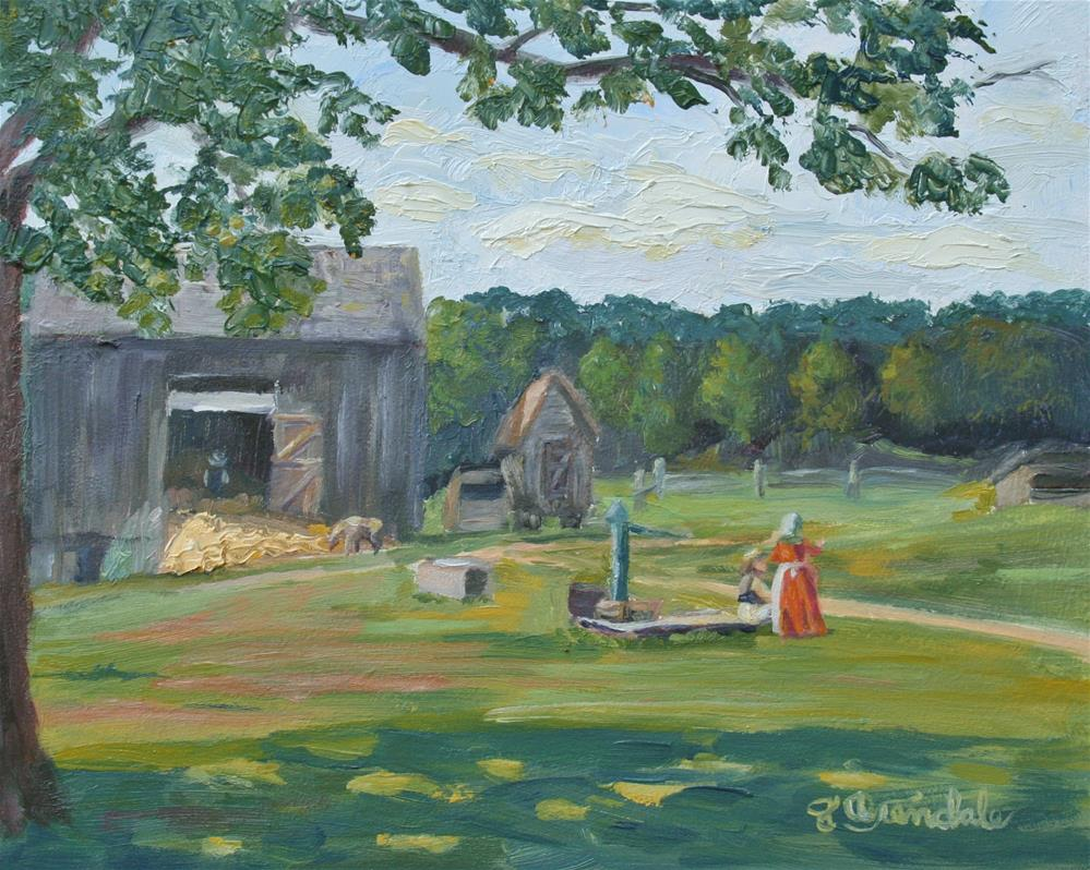 """Chatting at the Well"" original fine art by Jan Oxendale"