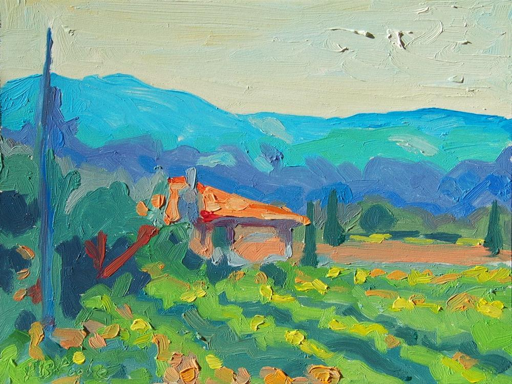 Napa Wineyard with House and Hills original fine art by Bertram Poole