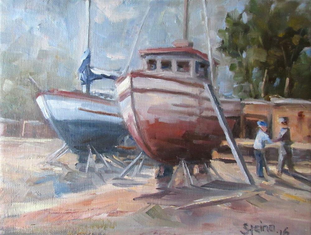 """The Boat Yard"" original fine art by Steinunn Einarsdottir"