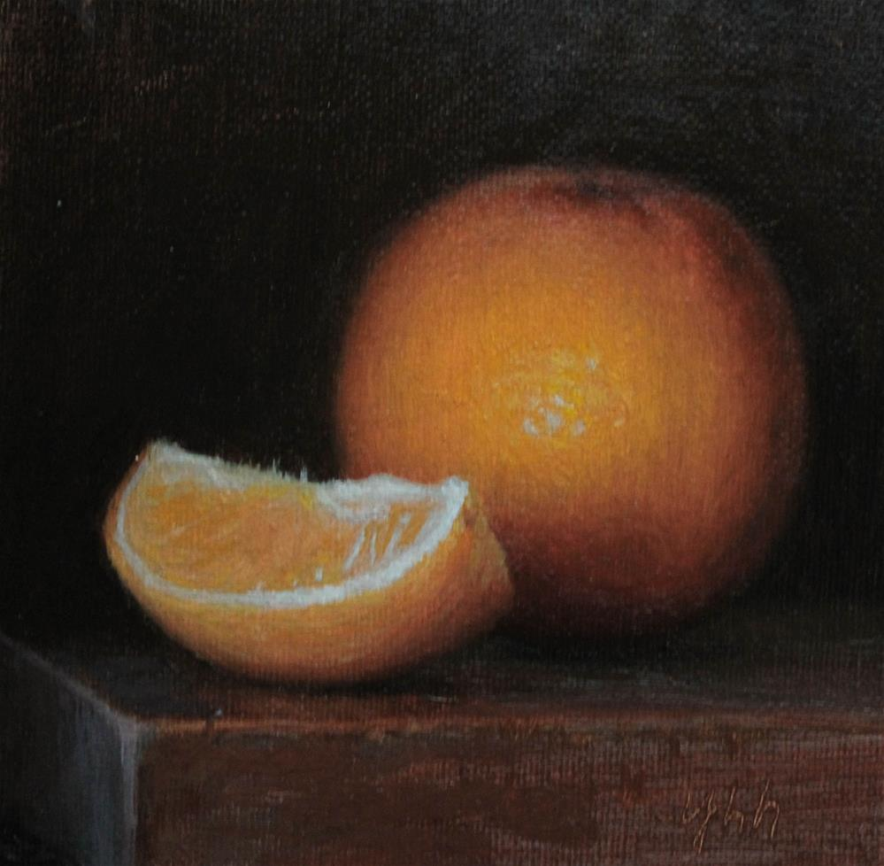 """Orange"" original fine art by Yuehua He"