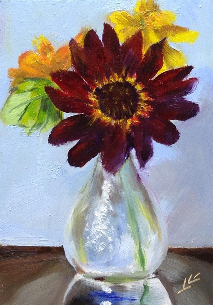 """Red Sunflower"" original fine art by Linda Lowery"