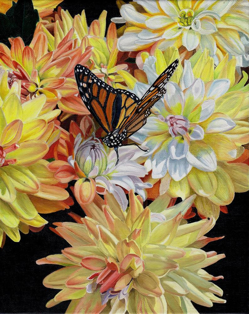 """Butterfly and Dahlias"" original fine art by Catherine Al-Rubaie"