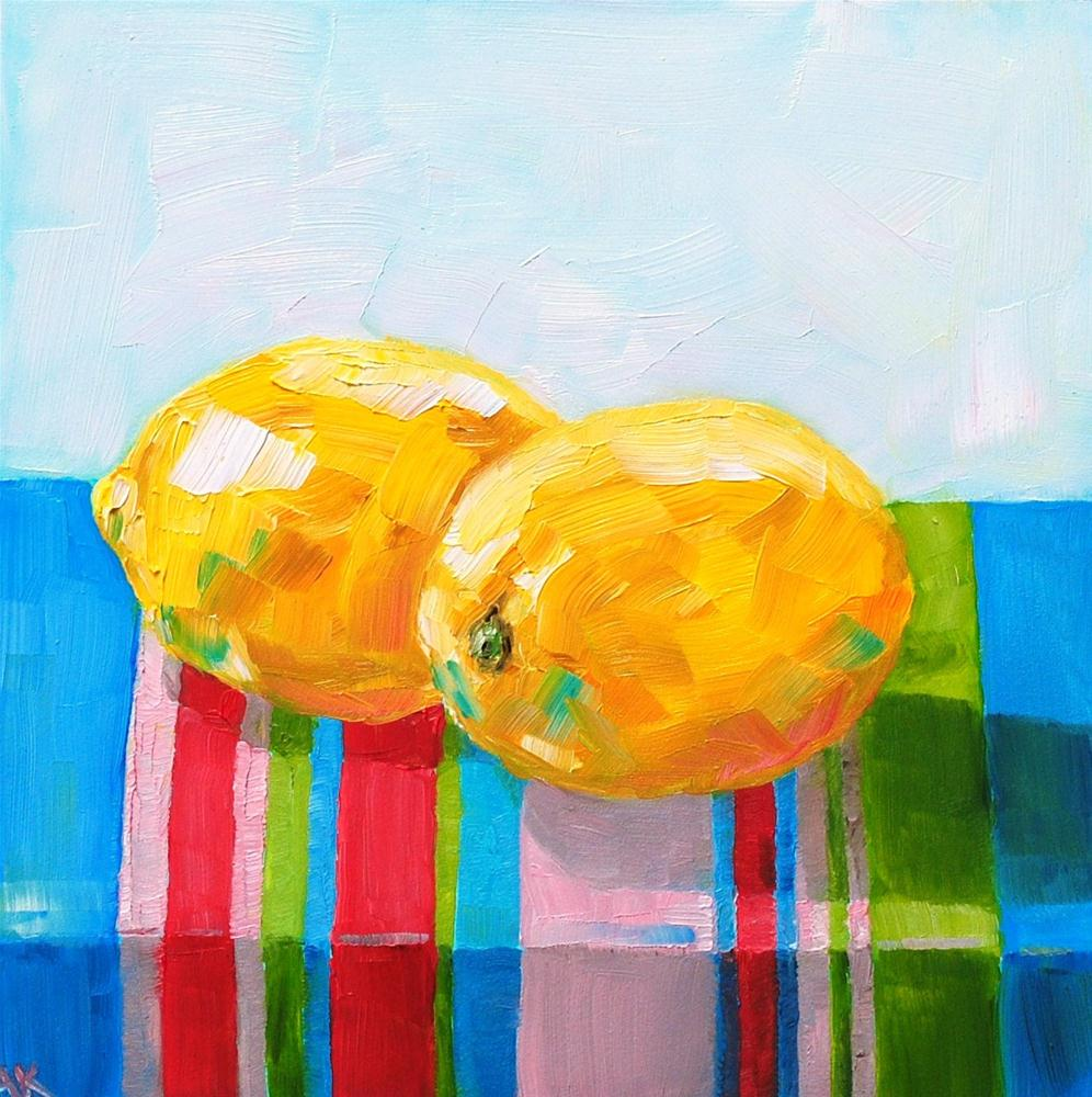 """Lemons and Stripes"" original fine art by Alison Kolkebeck"