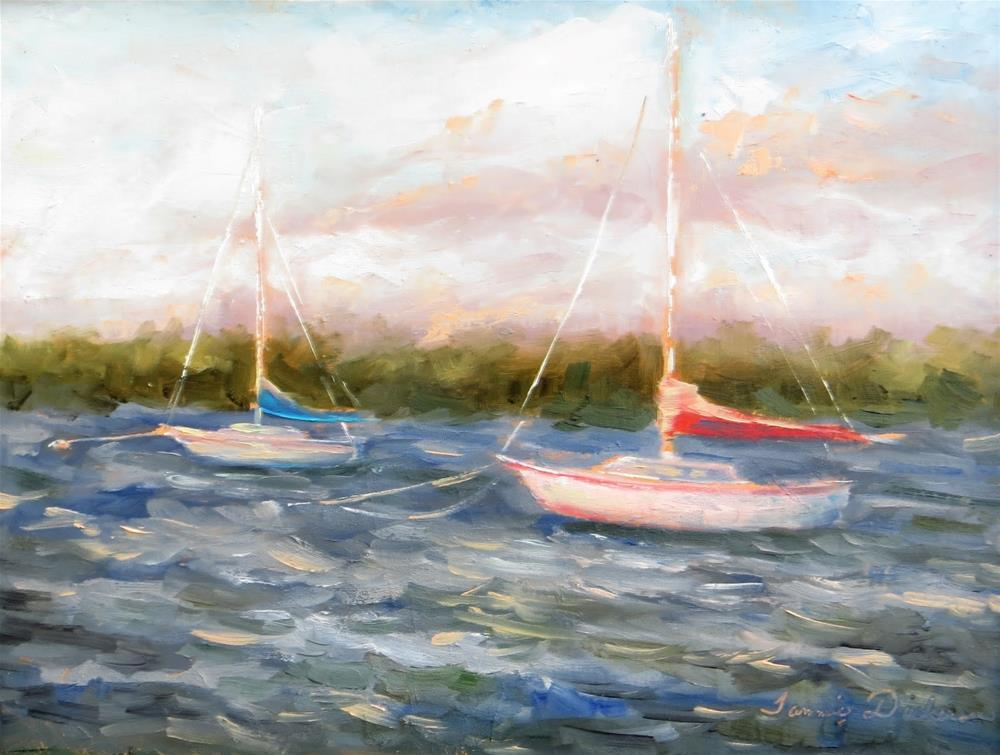 """Tied up at the Harbor"" original fine art by Tammie Dickerson"