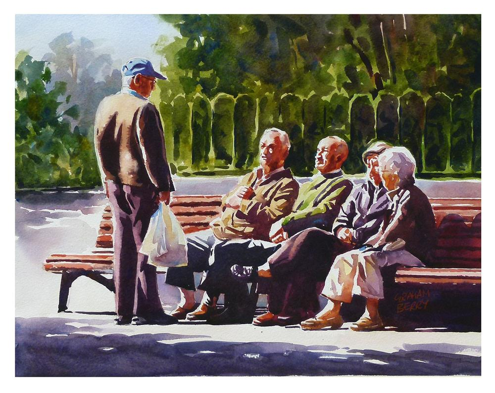 """Morning chat."" original fine art by Graham Berry"