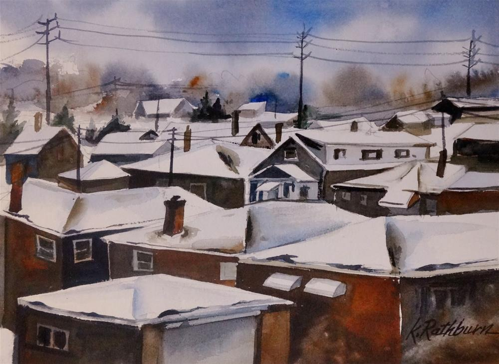 """Snow Upon the Roofs"" original fine art by Kathy Los-Rathburn"