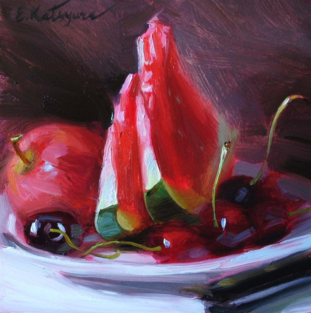 """Watermelon on a Plate"" original fine art by Elena Katsyura"