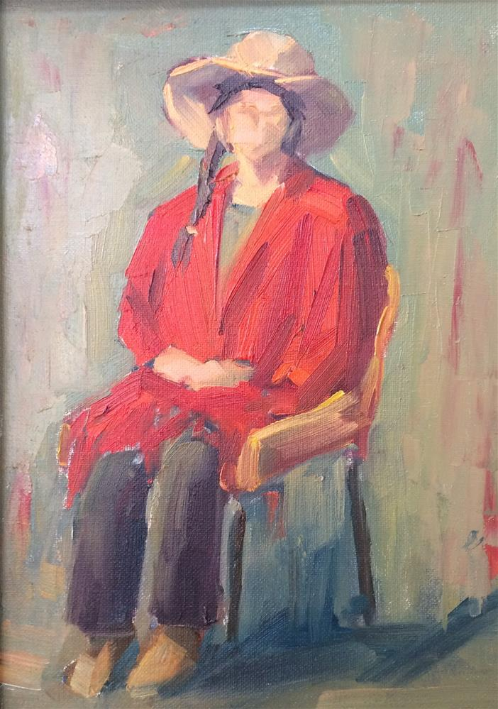 """Lady with Red Poncho"" original fine art by Naomi Bautista"