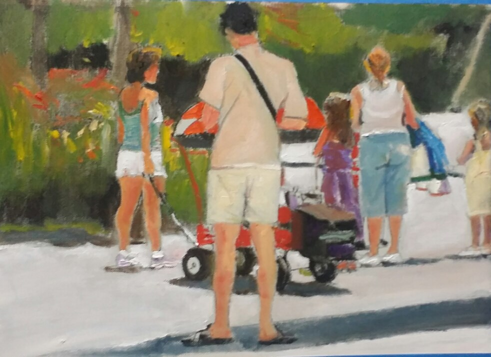 """""""A Great Day at The Park (9 x 12 oil on canvas sheet - no frame)"""" original fine art by Ramon DelRosario"""