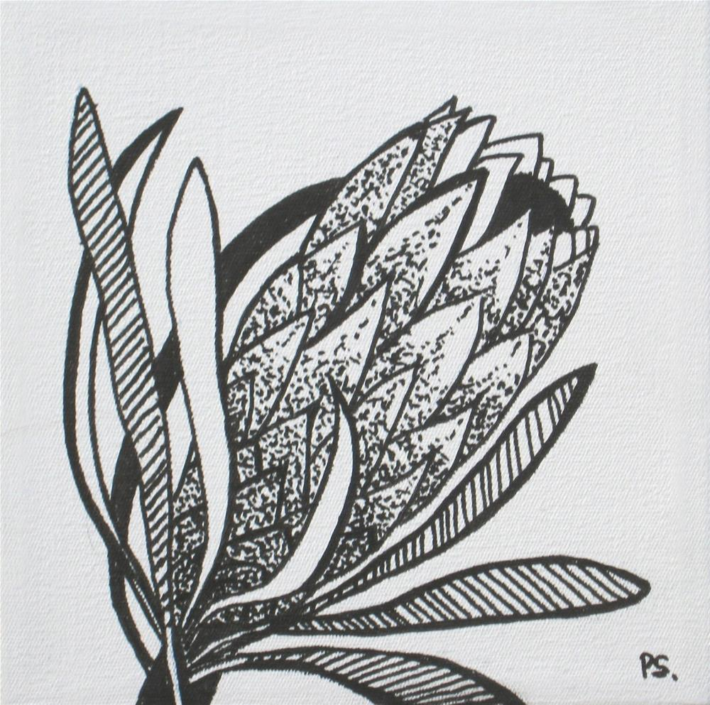 """Protea I in b/w"" original fine art by Pera Schillings"