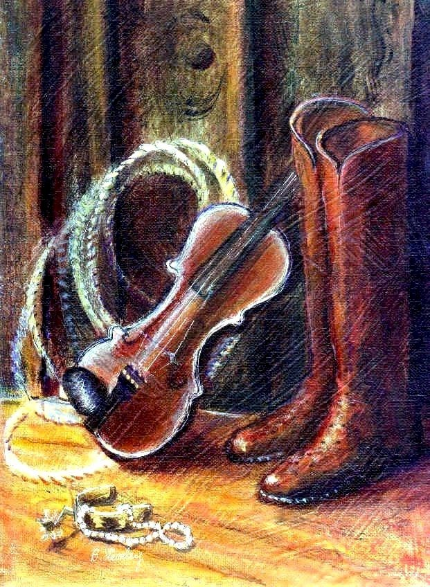 """Boots and Pearls by Texas artist, Barbara Lemley"" original fine art by Barbara Lemley"