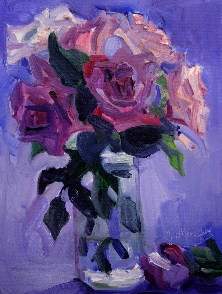 """Purple Roses"" original fine art by Carol Steinberg"