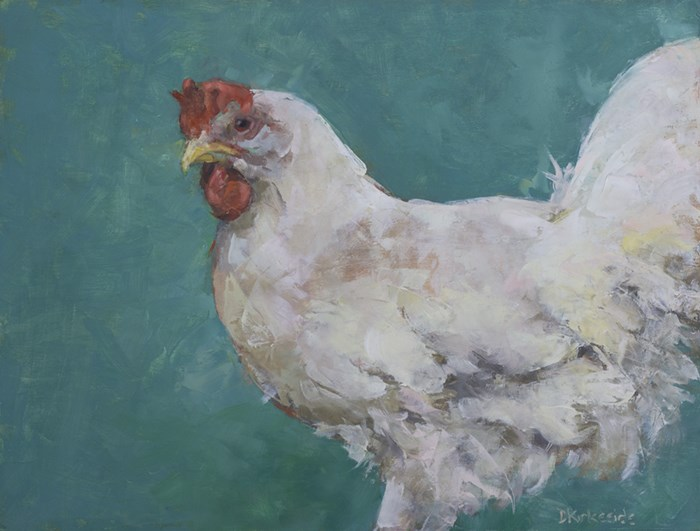 """Miss Lucille White Chicken Original Oil Painting by Minnesota Artist Deb Kirkeei"" original fine art by Deb Kirkeeide"