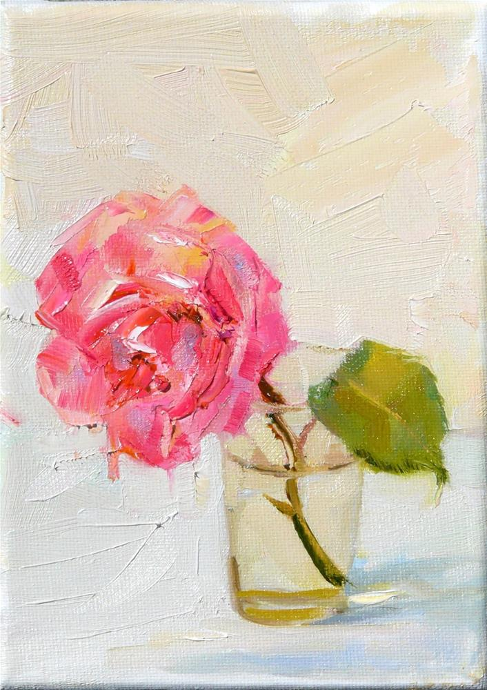 """Weeping Rose,still life,oil on canvas,7x5,price$175"" original fine art by Joy Olney"