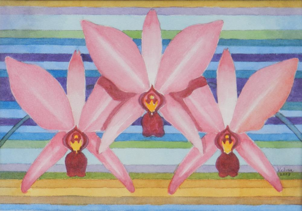 """Three Pink Orchids"" original fine art by Velma Davies"