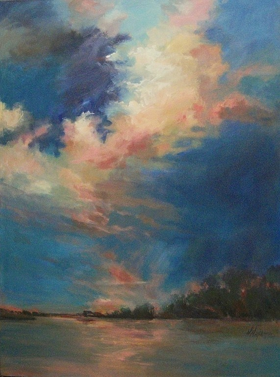 """Big Skies - Coral Clouds"" original fine art by Mary Maxam"