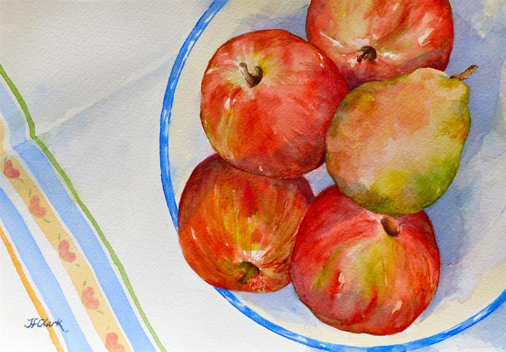 """Fruit with Tea Towel"" original fine art by Judith Freeman Clark"