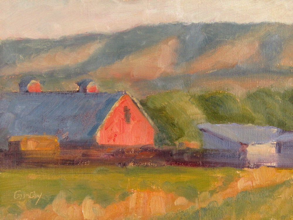 """Red Cattle Barn at Sunset"" original fine art by Naomi Gray"