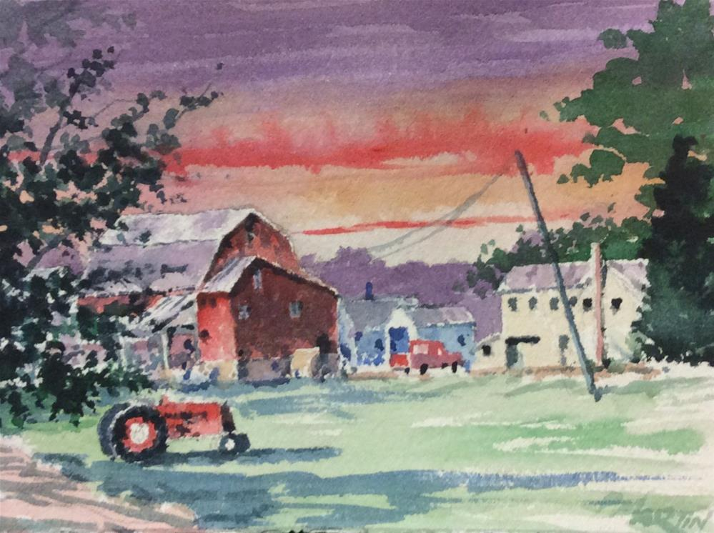 """Farm with tractor at sunset"" original fine art by paul martin"