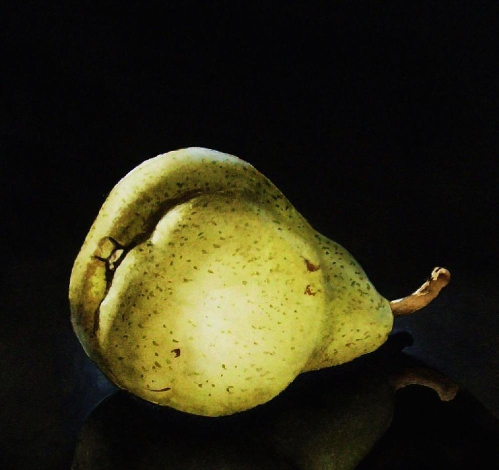 """Reclining Pear II"" original fine art by Jacqueline Gnott, whs"