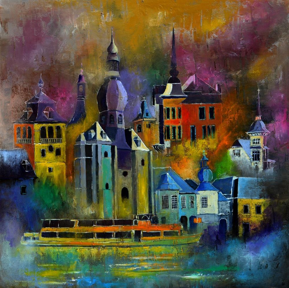 """Dinant urban landscape"" original fine art by Pol Ledent"
