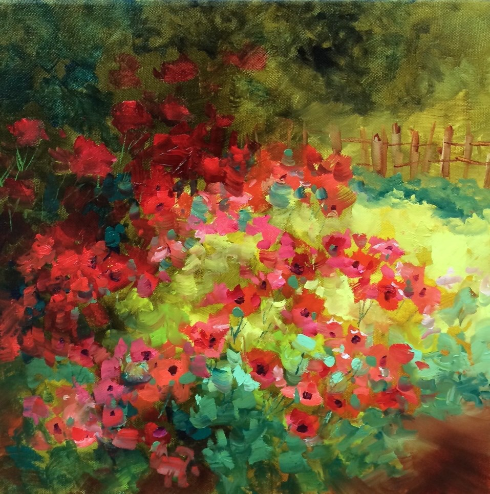 """Countdown to France! Field of Dreams Poppies and Learning the Lingo - Nancy Medina Art Videos and Classes"" original fine art by Nancy Medina"