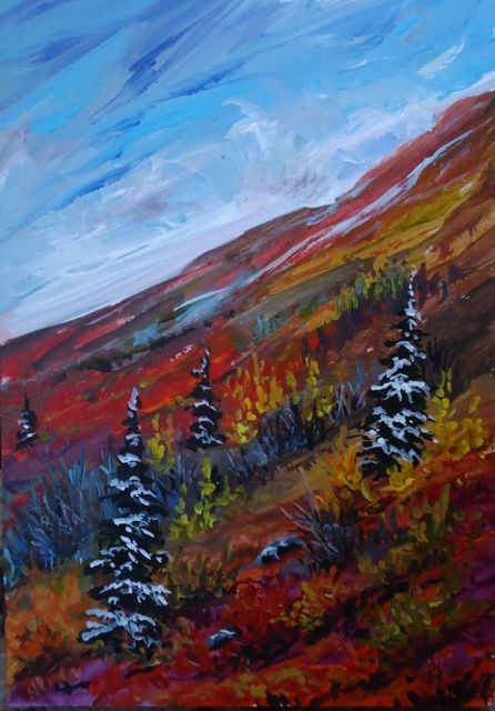 """Dempster Fall Colours, Yukon"" original fine art by Jackie Irvine"