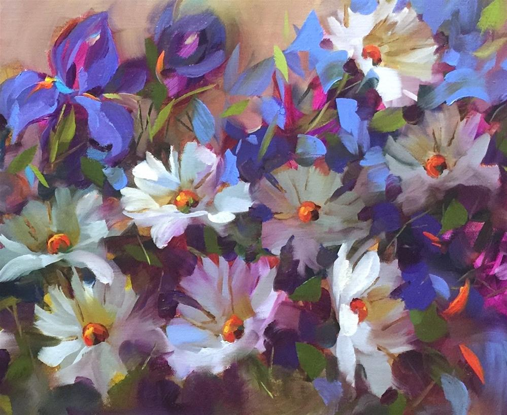 """Daisy Desireux and Painting Brilliant Colors"" original fine art by Nancy Medina"