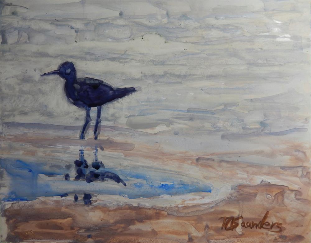 """Shore Bird -- Back lighting"" original fine art by Michael Saunders"