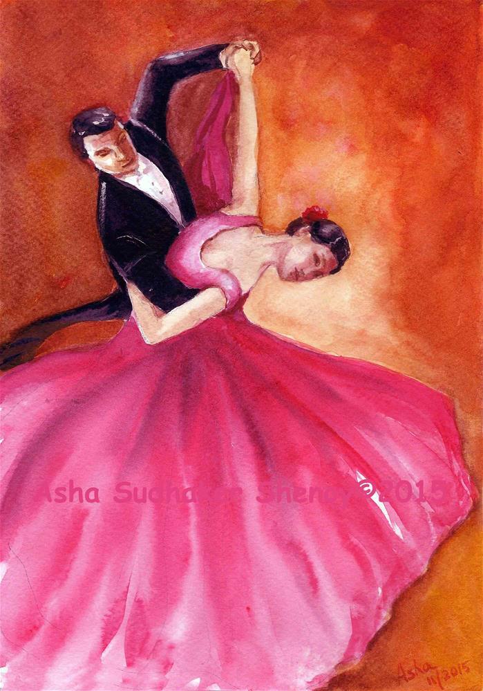 """Tango Couple"" original fine art by Asha Shenoy S"