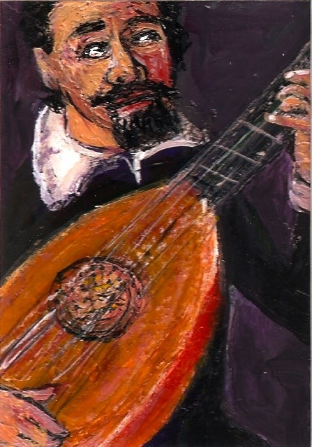 """""""ACEO Lute Player in the style of Leandro Bassano SFA Miniature Penny StewArt"""" original fine art by Penny Lee StewArt"""