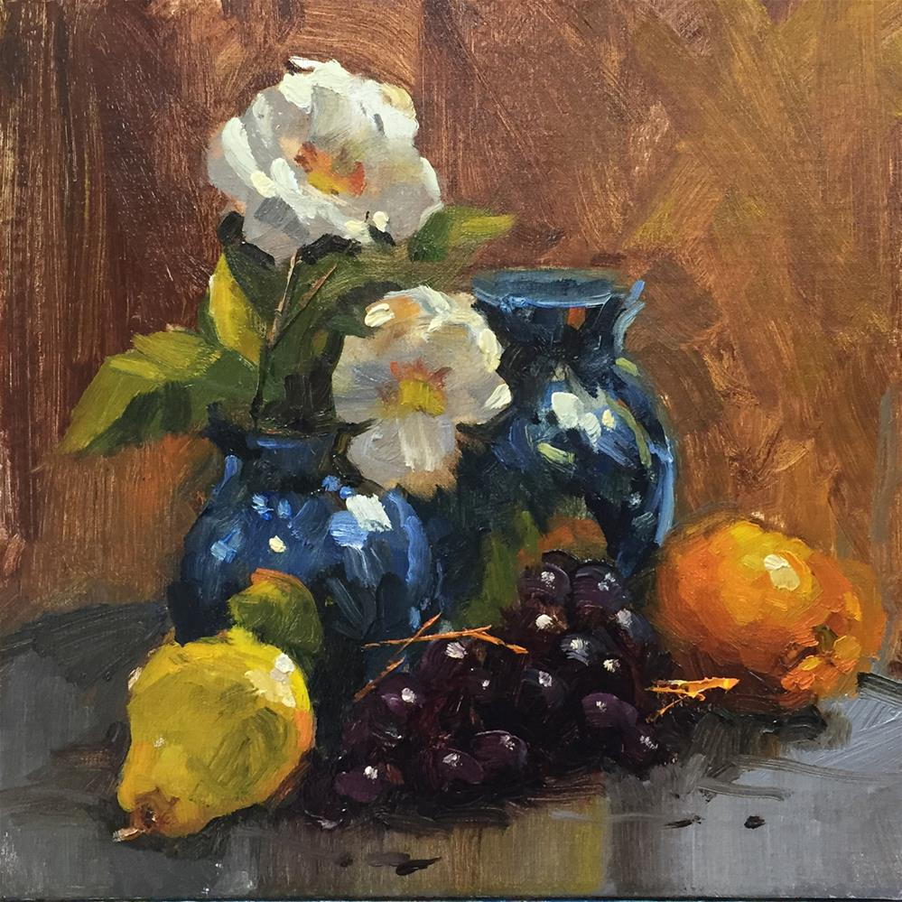 """White Flowers in a Blue Vase"" original fine art by Bruce Hancock"
