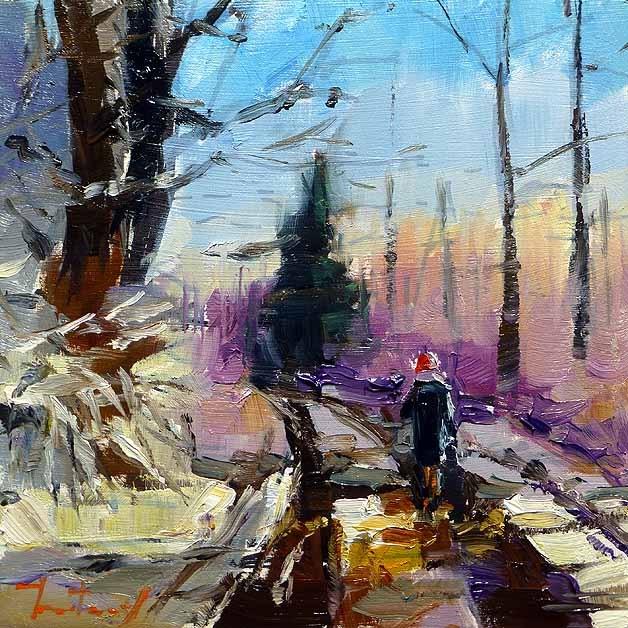 """""""forest road"""" original fine art by Jurij Frey"""
