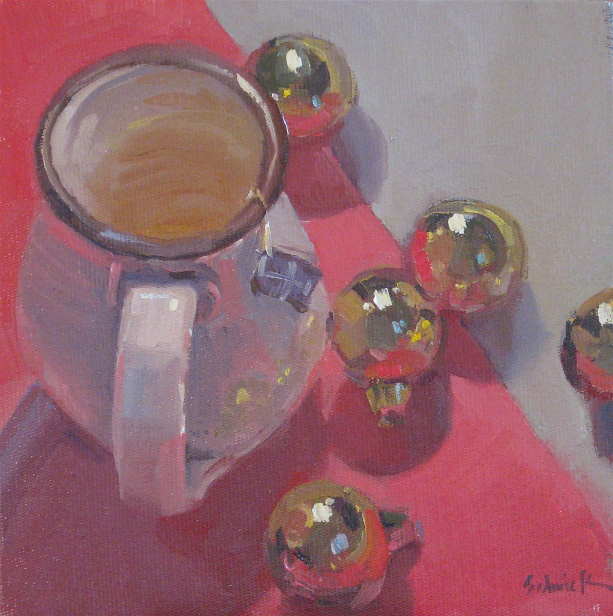 """Christmas Teacup"" original fine art by Sarah Sedwick"