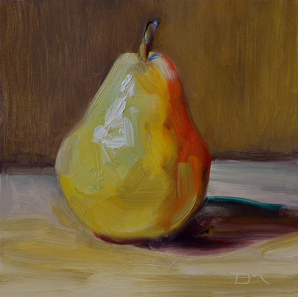 """Yellow Bartlett Pear Study #2"" original fine art by Denise Maxwell"
