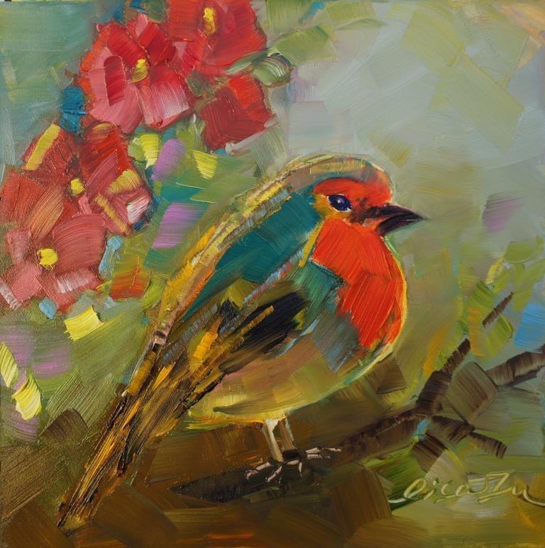 """Flower and bird"" original fine art by Lisa Fu"
