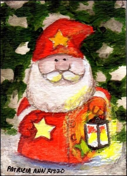 """""""Christmas Garden Gnome"""" original fine art by Patricia Ann Rizzo"""