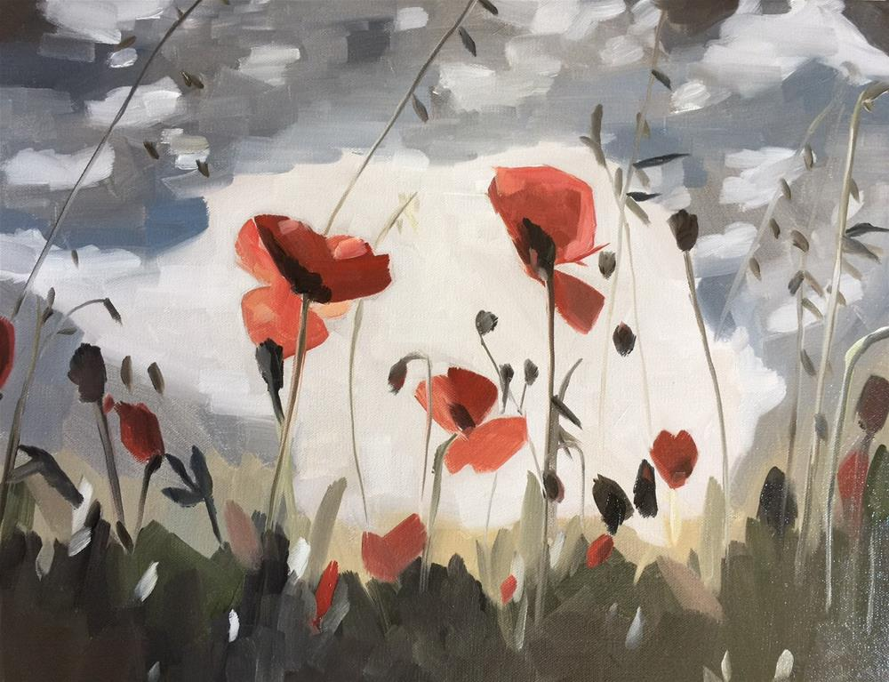 """287 Field of Poppies"" original fine art by Jenny Doh"