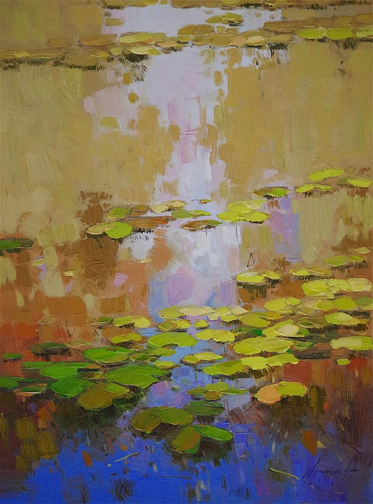 """Waterlilies, Oil Painting on Canvas, Palette knife painting, One of  a kind"" original fine art by V Y"