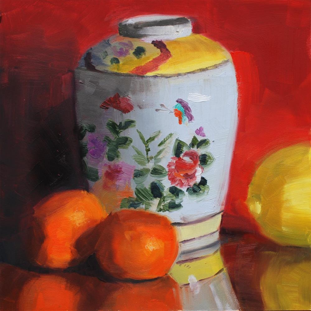 """""""Ginger Jar with Mandarins and Lemon"""" original fine art by Susan McManamen"""