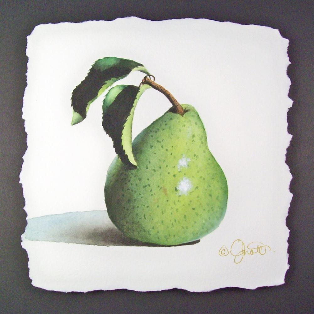 """Pear with Leaves"" original fine art by Jacqueline Gnott, whs"