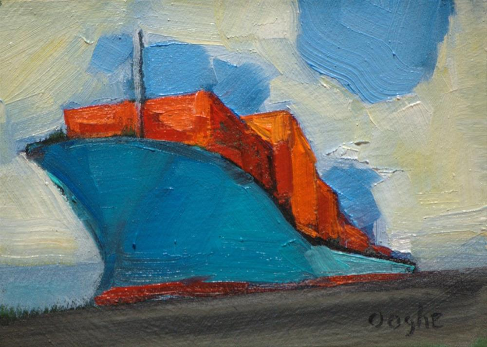 """Container Ship in Port"" original fine art by Angela Ooghe"