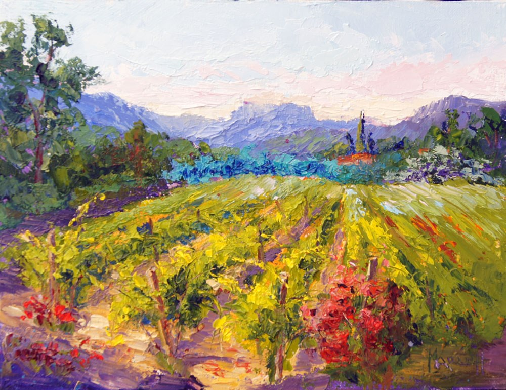 """Vineyard, Waiting for the Bees"" original fine art by Marion Hedger"
